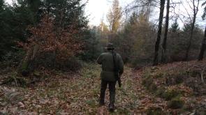Jäger in Dämmerung mit Gewehr von hinten
